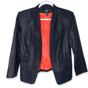 H&M Shimmer Black Coral Linen Blazer 10